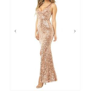 Sleeveless Sequin Gown | Medium | Rose Gold